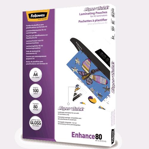 Enhance 80 Micron Gloss A3 Laminating Pouches Fellowes